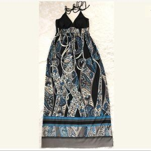 Alyn Paige Black/Gray/Teal, Maxi, Halter Dress